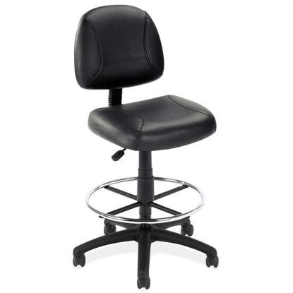 Picture of Black Leather Armless Deluxe Posture Chair with Black Frame