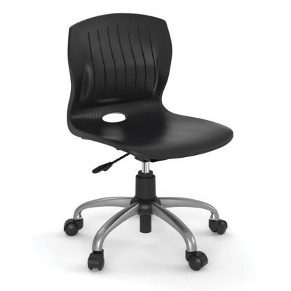 Picture of Armless Poly Swivel Chair with Chrome Frame (Black)