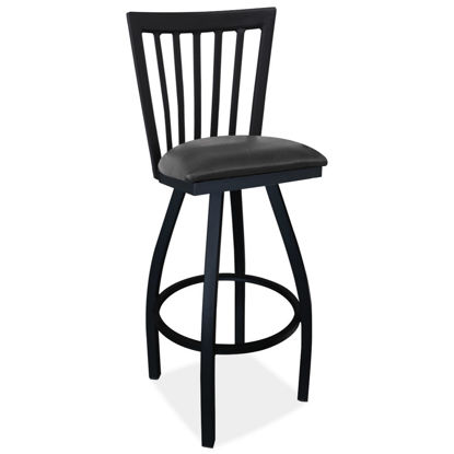 Picture of Cafe Height High Back Wood Chair with Cushioned Seat and Black Frame
