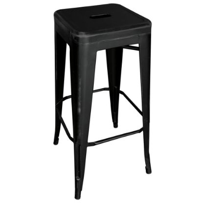 Picture of 30''H Backless Indoor/Outdoor Distressed Bar Stool (Black)