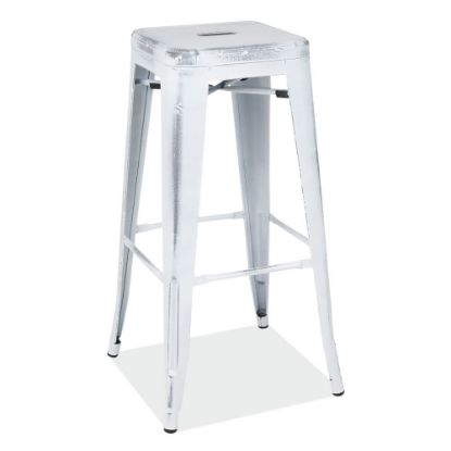 Picture of 30''H Backless Indoor/Outdoor Distressed Bar Stool (White)