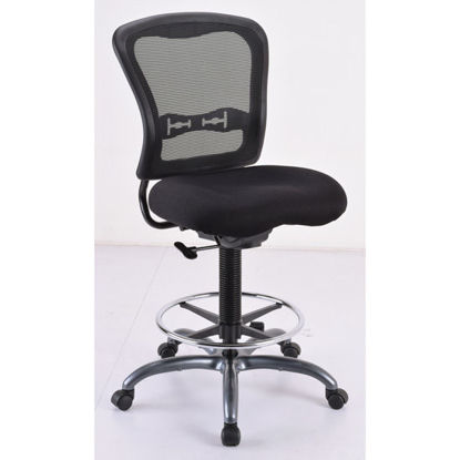 Picture of Armless, Mesh Back Task Stool with Black Upholstered Seat, Footring and Titanium Steel Base