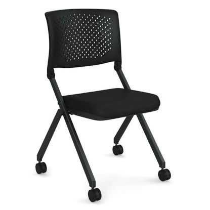 Picture of Armless Nesting Chair with Casters, Black Frame