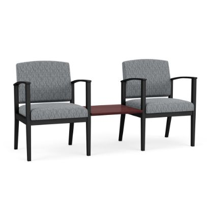 Picture of Amherst Steel 2 Chairs w/Connecting Center Table (Black/Adler Grey Flannel/Chelsea Mahogany)