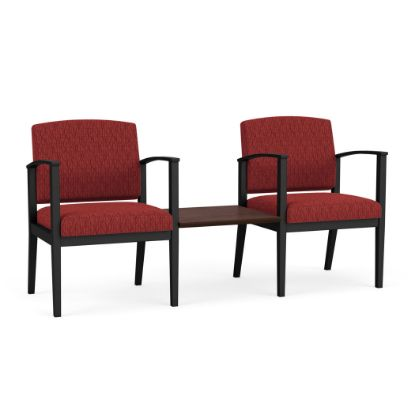 Picture of Amherst Steel 2 Chairs w/Connecting Center Table (Black/Adler Caliente/Cocoa Walnut)