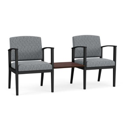 Picture of Amherst Steel 2 Chairs w/Connecting Center Table (Black/Adler Grey Flannel/Cocoa Walnut)