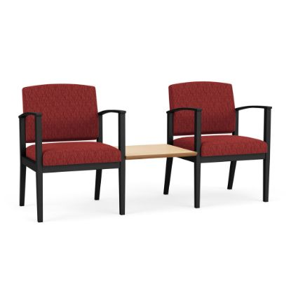 Picture of Amherst Steel 2 Chairs w/Connecting Center Table (Black/Adler Caliente/Natural Maple)