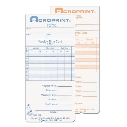 Picture of Acroprint® Cards for Model ATR240 and ATR360 Top Loading Time Clocks
