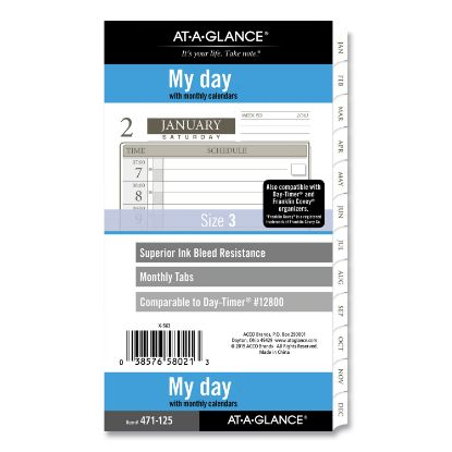 Picture of 1-Page-Per-Day Planner Refills, 6.75 x 3.75, White, 2021