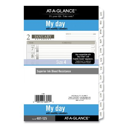 Picture of 1-Page-Per-Day Planner Refills, 8.5 x 5.5, White, 2021
