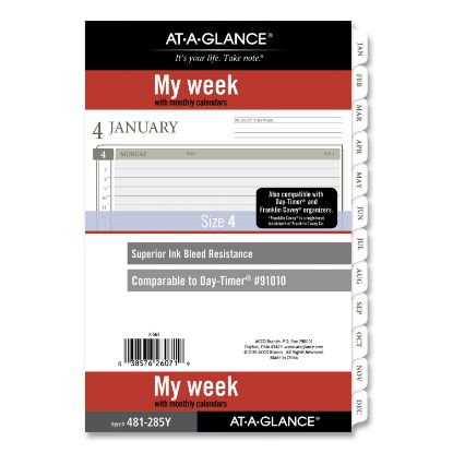 Picture of 2-Page-Per-Week Planner Refills, 8.5 x 5.5, White, 2021