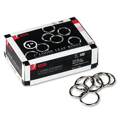 """Picture of Metal Book Rings, 1"""" Diameter, 100 Rings/Box"""
