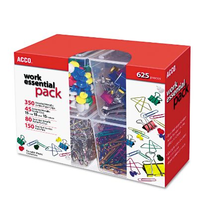 Picture of 350 Paper Clips, 150 Push Pins, 80 Butterfly Clips and 45 Binder Clips, Assorted