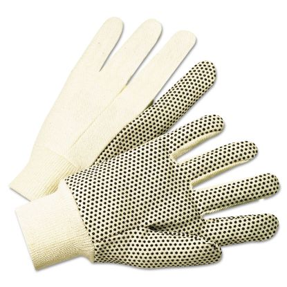Picture of 1000 Series PVC Dotted Canvas Gloves, White/Black, Large, 12 Pairs