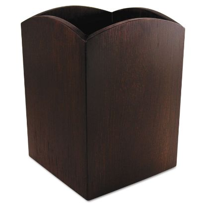Picture of Bamboo Curved Pencil Cup, 3 x 3  4 1/4, Espresso Brown