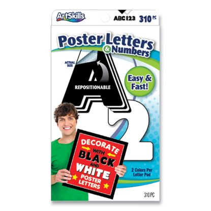 """Picture of Black and White Poster Letters and Numbers, 10"""" h, 310/Pack"""