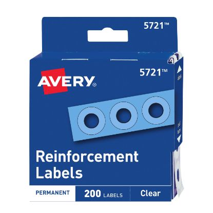 """Picture of Dispenser Pack Hole Reinforcements, 1/4"""" Dia, Clear, 200/Pack, (5721)"""