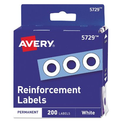 """Picture of Dispenser Pack Hole Reinforcements, 1/4"""" Dia, White, 200/Pack, (5729)"""