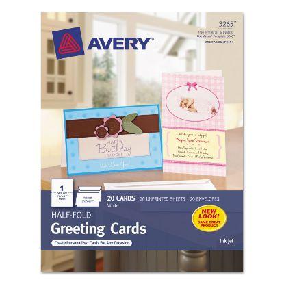 Picture of Half-Fold Greeting Cards, Inkjet, 5 1/2 x 8.5, Matte White, 20/Box w/Envelopes