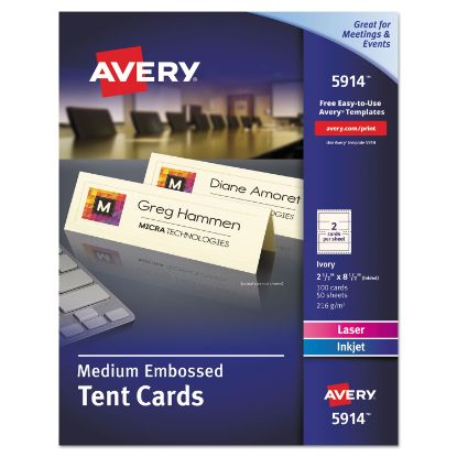 Picture of Medium Embossed Tent Cards, Ivory, 2 1/2 x 8.5, 2 Cards/Sheet, 100/Box