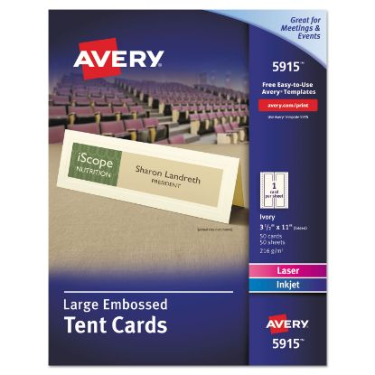 Picture of Large Embossed Tent Card, Ivory, 3 1/2 x 11, 1 Card/Sheet, 50/Box