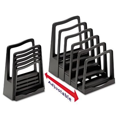"""Picture of Adjustable File Rack, 5 Sections, Letter Size Files, 8"""" x 11.5"""" x 10.5"""", Black"""