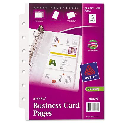 Picture of Business Card Binder Pages, 2 x 3 1/2, 8 Cards/Sheet, 5 Pages/Pack