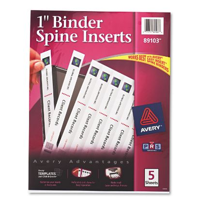 """Picture of Binder Spine Inserts, 1"""" Spine Width, 8 Inserts/Sheet, 5 Sheets/Pack"""