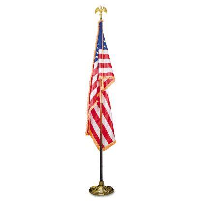 """Picture of Deluxe 3 ft x 5 ft U.S. Flag, 8 ft Oak Staff, 2"""" Gold Fringe, 7"""" Goldtone Eagle"""