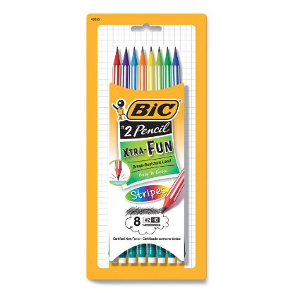 Picture of #2 Pencil Xtra Fun, HB (#2), Black Lead, Assorted Stripes Barrel Colors, 8/Pack