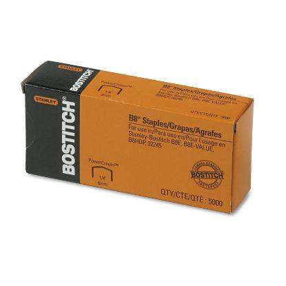 "Picture of B8 PowerCrown Premium Staples, 0.25"" Leg, 0.5"" Crown, Steel, 5,000/Box"