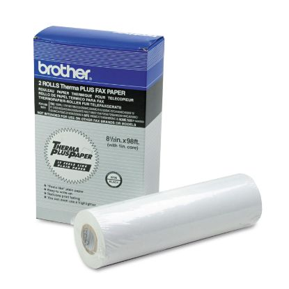 """Picture of 98' ThermaPlus Fax Paper Roll, 1"""" Core, 8.5"""" x 98ft, White, 2/Pack"""