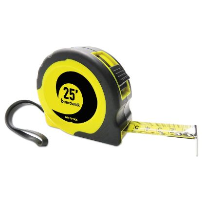 """Picture of Easy Grip Tape Measure, 25 ft, Plastic Case, Black and Yellow, 1/16"""" Graduations"""