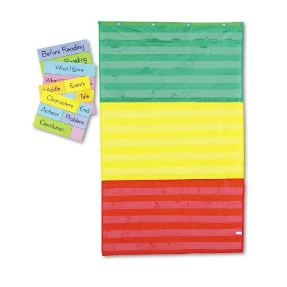 Picture of Adjustable Tri-Section Pocket Chart with 18 Color Cards, Guide, 33.75 x 55.5