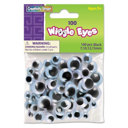 Picture of Wiggle Eyes Assortment, Assorted Sizes, Black, 100/Pack