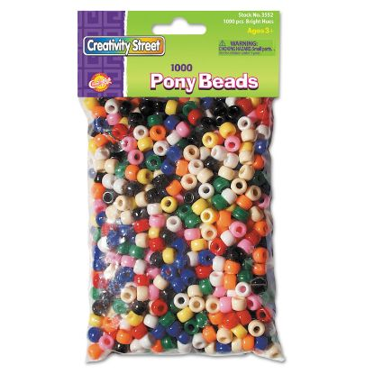Picture of Pony Beads, Plastic, 6 mm x 9 mm, Assorted Colors, 1,000/Set