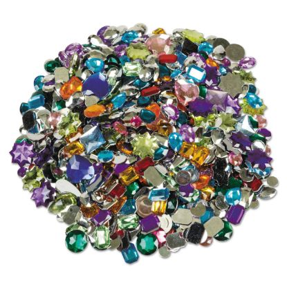 Picture of Acrylic Gemstones Classroom Pack, 1 lb, Assorted Colors/Sizes