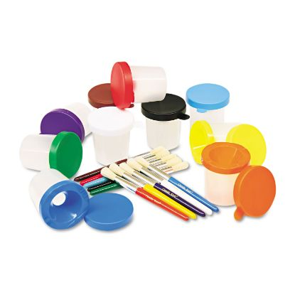 Picture of No-Spill Cups & Coordinating Brushes, Assorted Colors, 10/Set