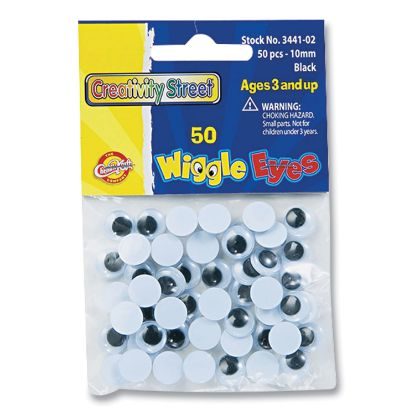 Picture of Round Black Wiggle Eyes, 10 mm, Black, 50/Pack