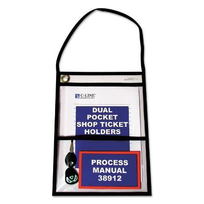 Picture of 2-Pocket Shop Ticket Holder w/Strap, Black Stitching, 150-Sheet, 9 x 12, 15/Box