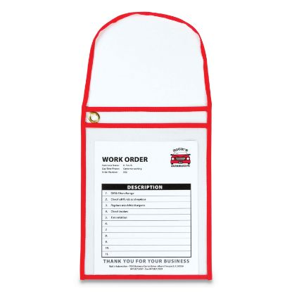 Picture of 1-Pocket Shop Ticket Holder w/Strap and Red Stitching, 75-Sheet, 9 x 12, 15/Box