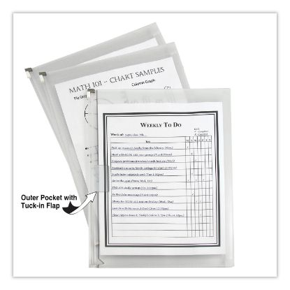 Picture of Zip n Go Reusable Envelope w/Outer Pocket, 13 x 10, Clear, 3/Pack