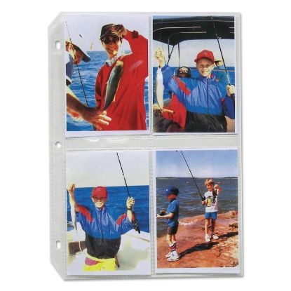 Picture of Clear Photo Pages for 8, 3-1/2 x 5 Photos, 3-Hole Punched, 11-1/4 x 8-1/8