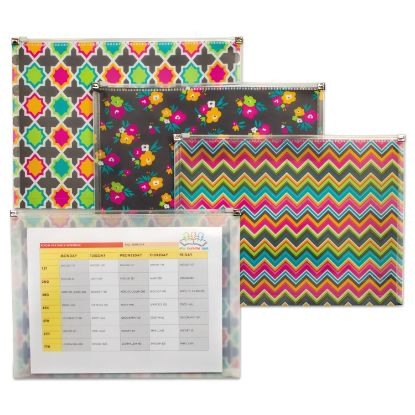 """Picture of Fashion Zip 'N Go Reusable Envelope, 1 Section, 13.13"""" x 10"""", Assorted, 3/Pack"""