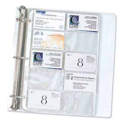 Picture of Business Card Binder Pages, Holds 20 Cards, 8 1/8 x 11 1/4, Clear, 10/Pack