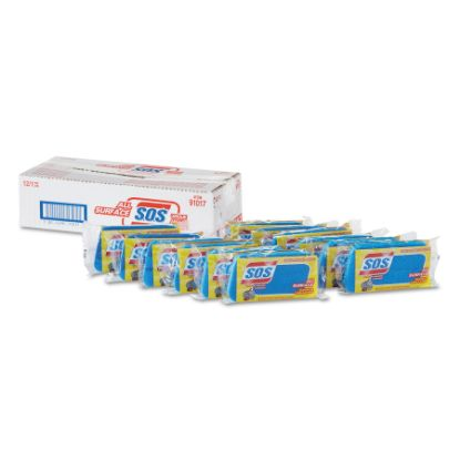 """Picture of All Surface Scrubber Sponge, 2 1/2 x 4 1/2, 1"""" Thick, Blue, 12/Carton"""