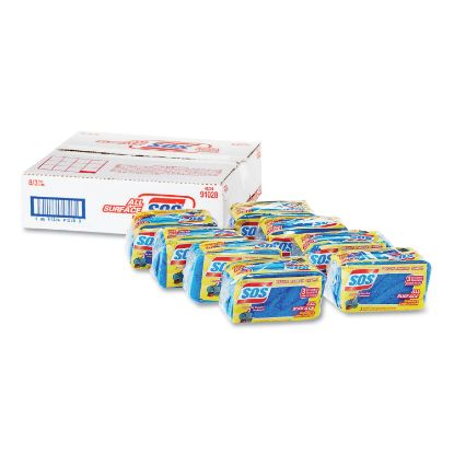 """Picture of All Surface Scrubber Sponge, 2 1/2 x 4 1/2, 0.9"""" Thick, Blue, 3/Pack, 8 Packs/CT"""