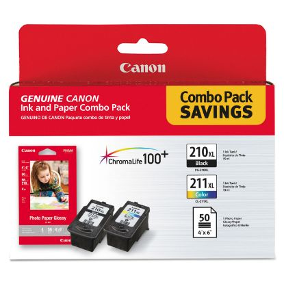 Picture of 2973B004 (PGI-210XL/CL-211XL) High-Yield Ink/Paper Combo, Black/Tri-Color