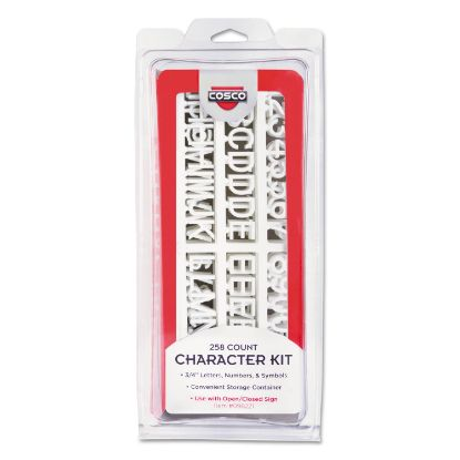 Picture of Character Kit, Letters, Numbers, Symbols, White, Helvetica, 258 Pieces