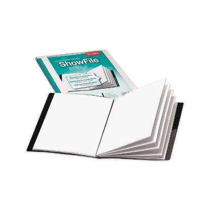 Picture of ShowFile Display Book w/Custom Cover Pocket, 12 Letter-Size Sleeves, Black